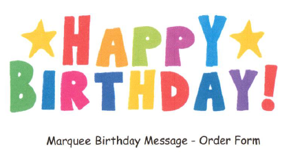Happy Birthday Marquee message form