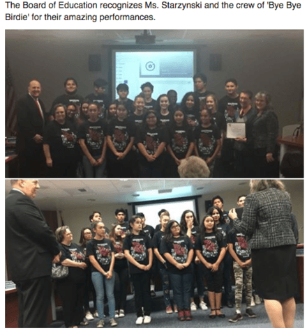 Board recognizes 'Bye Bye Birdie' Performance