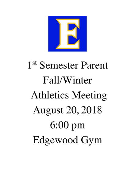 1st semester Athletic Parent Meeting